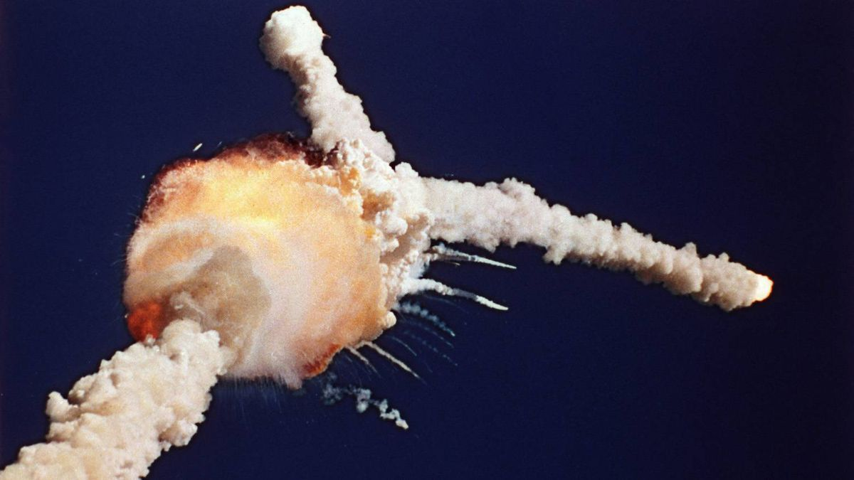 In this Jan. 28, 1986 file photo, the space shuttle Challenger explodes shortly after lifting off from Kennedy Space Center.