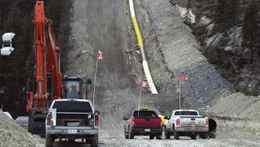 Kinder Morgan pipeline being installed near Windy Point, Jasper National Park, in 2007