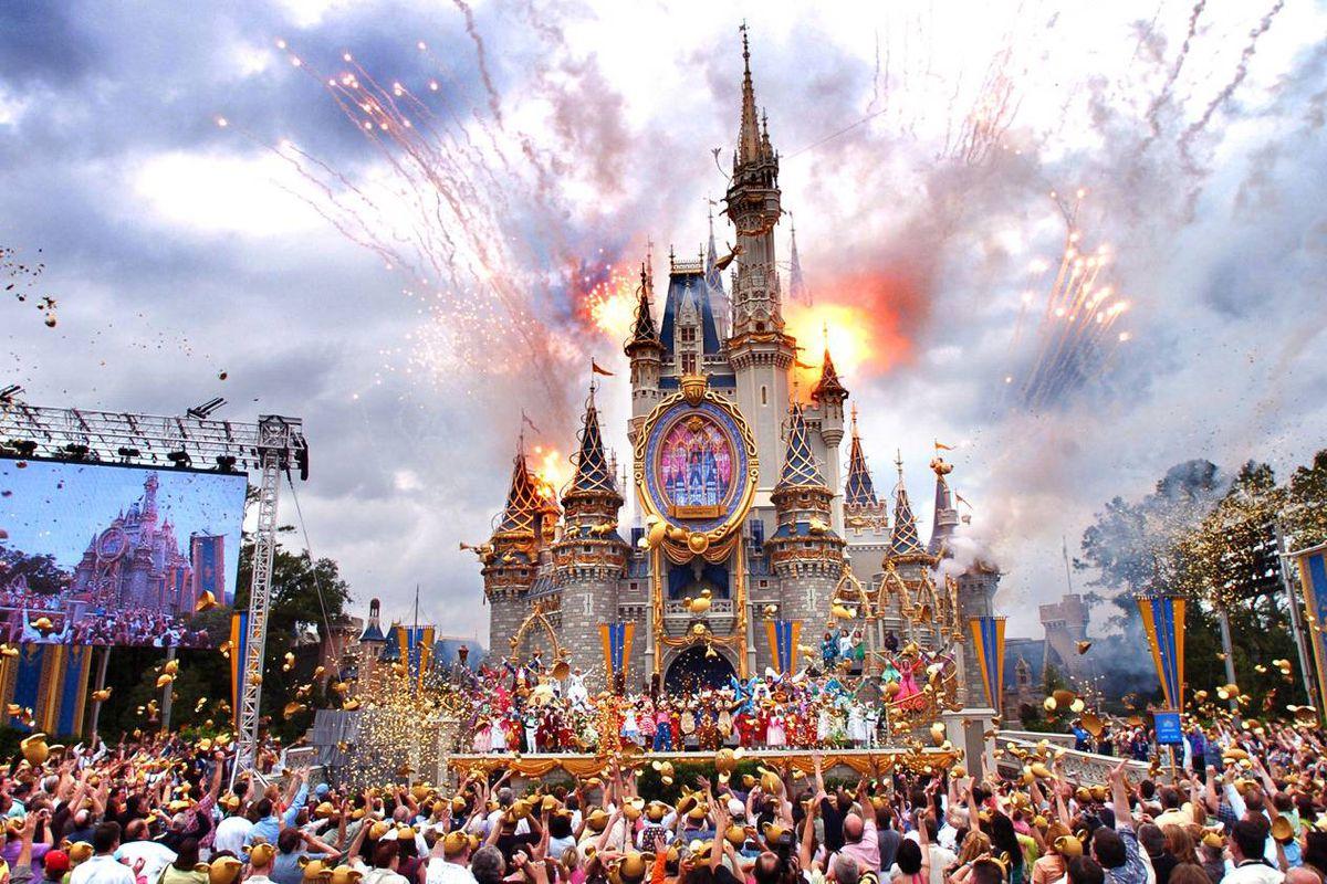 The Cinderella Castle at Disney World in Florida