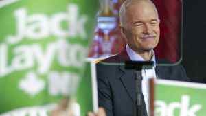 NDP Leader Jack Layton addresses supporters during a campaign stop in downtown Montreal on April 23 , 2011.