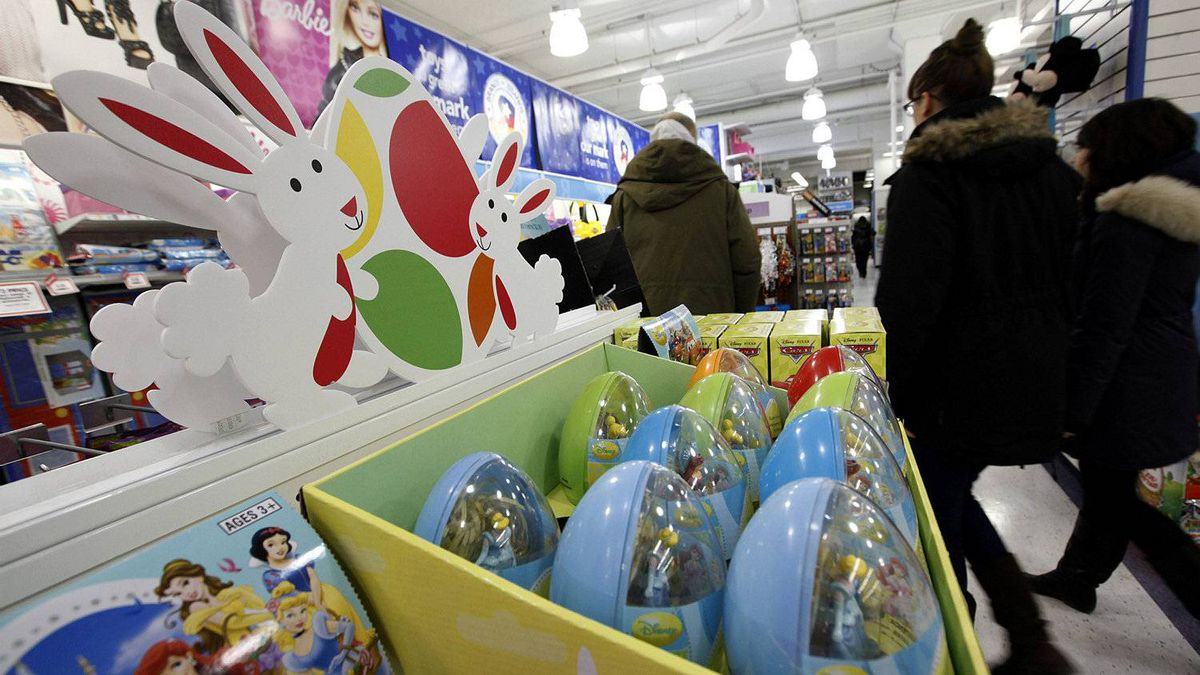 Gifts at easter since when is chocolate not enough the globe easter products on display at toy r us at eglinton avenue and yonge street location on negle Choice Image