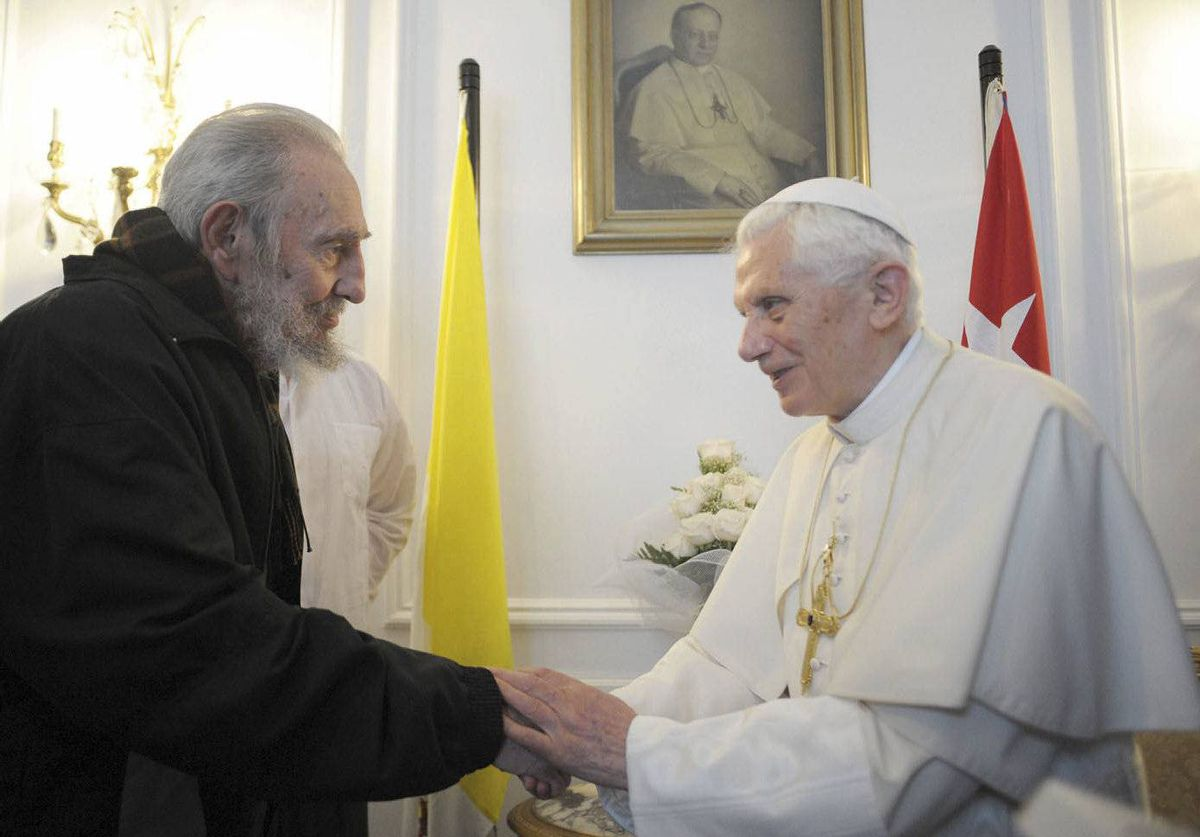 Pope Benedict XVI meets with Fidel Castro in Havana, Cuba.
