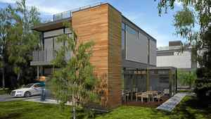 Rendering of a prefabricated home from Nexterra Green Homes Ltd. The homes are factory-built according to plans from LivingHomes, a Los Angeles company.