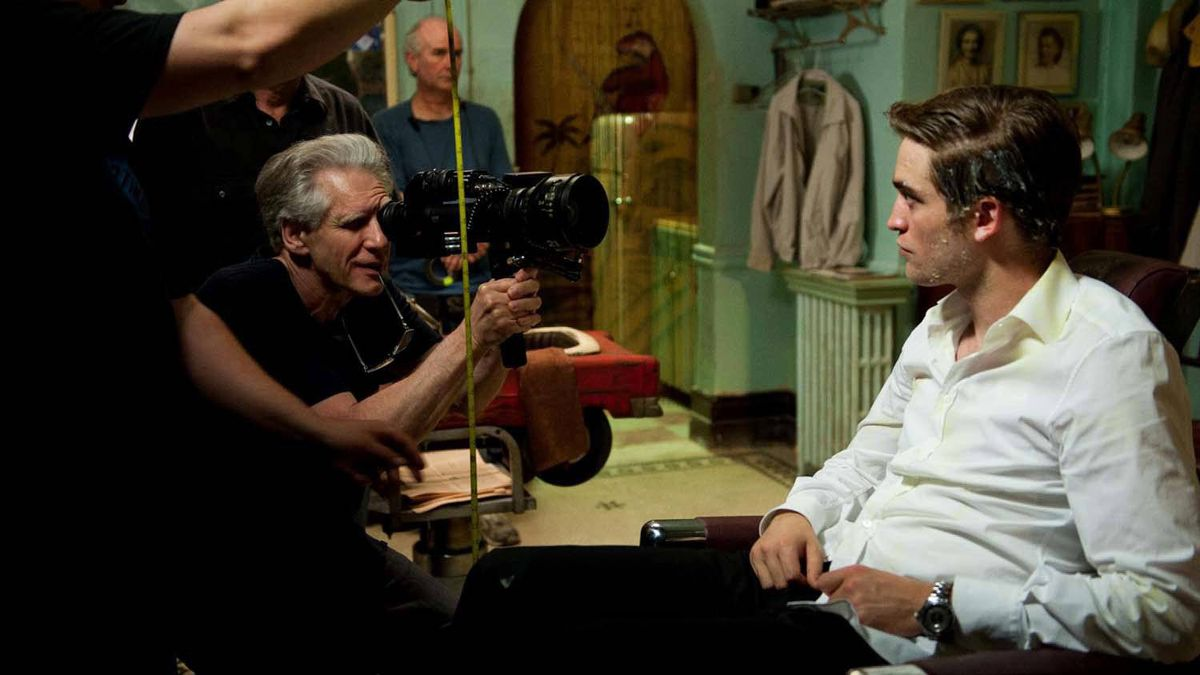 "Cronenberg shoots a scene with Robert Pattinson on the set of ""Cosmopolis."""