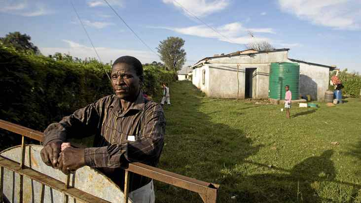 After working in a South African gold mine, Wilson Mafolwana suffers from silicosis, a disease of the lungs caused by breathing dust containing silica particles.