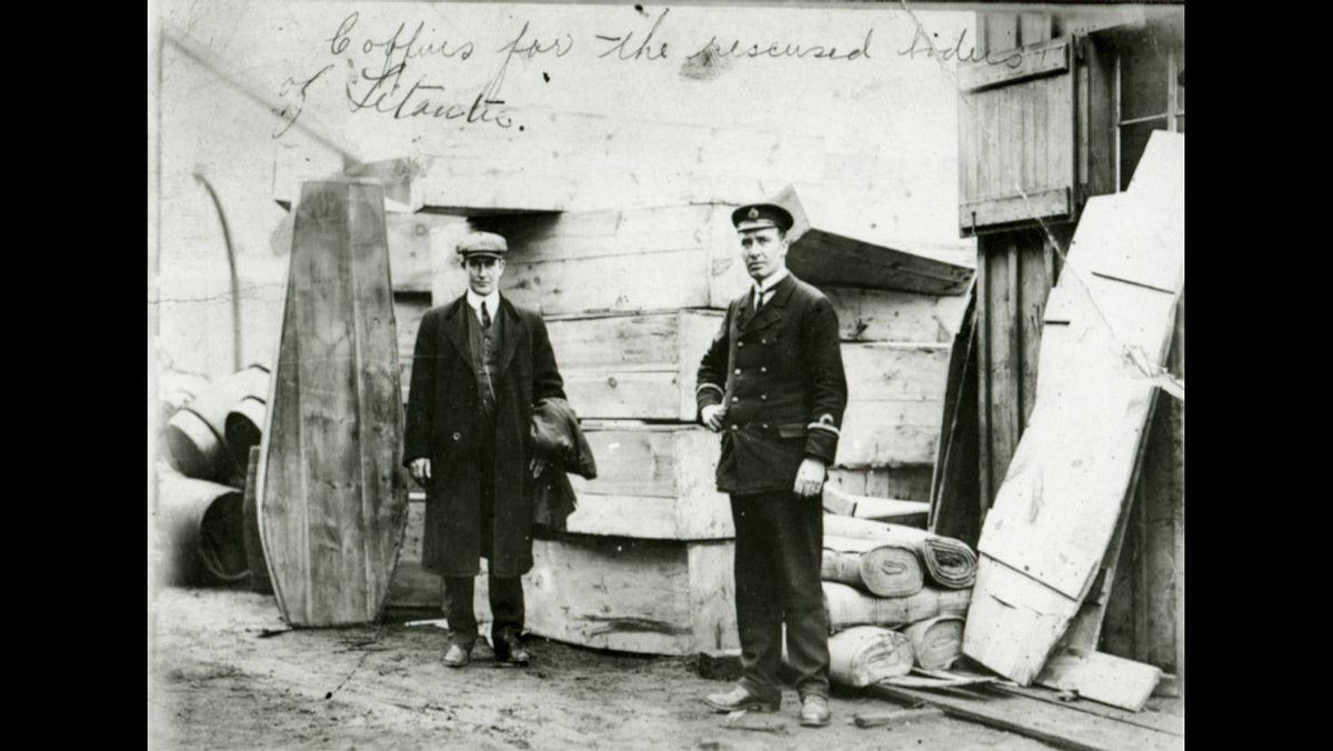 Coffins for the recovered bodies from the Titanic are seen in Halifax in 1912. Of the 2,223 passengers and crew aboard, only 706 survived that memorable night, but the story of the ocean liner deemed unsinkable has fascinated the world ever since.