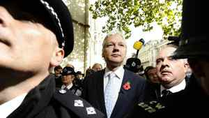 WikiLeaks' founder Julian Assange leaves the High Court in London Nov. 2, 2011. Assange should be sent to Sweden from Britain to face questioning over alleged sex crimes, London's High Court ruled on Wednesday, rejecting his appeal against extradition.