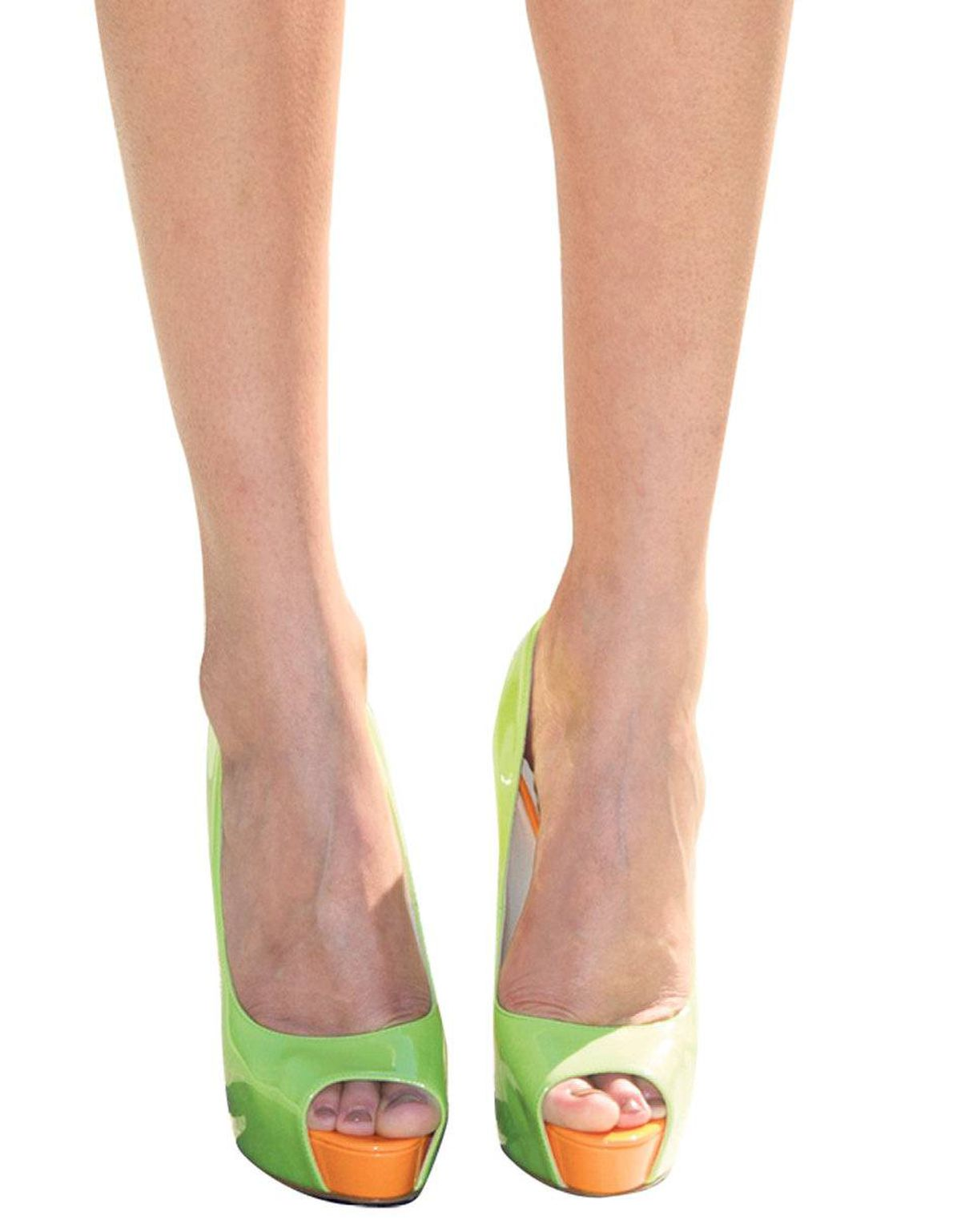Take a stroll down Electric Avenue in these neon-green and orange peep-toe platforms. Brian Atwood pumps, $735 at the Room at the Bay