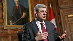 Canada's Prime Minister Stephen Harper speaks before the start of an interview with Reuters in his office on Parliament Hill in Ottawa Feb. 3, 2012.