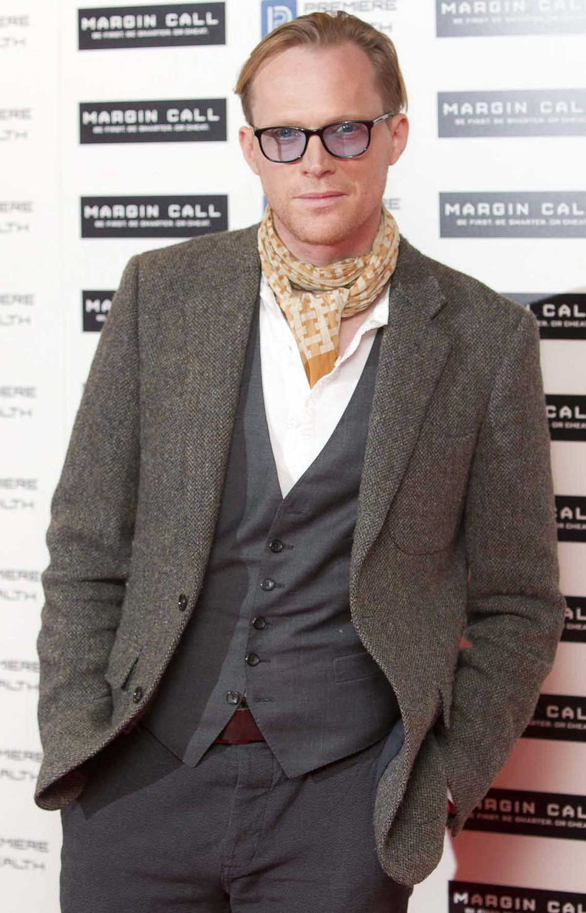 """British actor Paul Bettany had his own oversized pair of spectacles going on at the UK premiere of """"Margin Call"""" in London on Monday."""