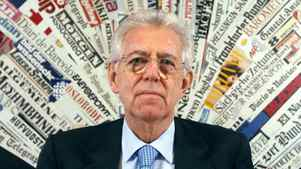 Italian Premier Mario Monti pauses as he speaks at Rome's Foreign Press Club, Monday, Dec. 5, 2011.