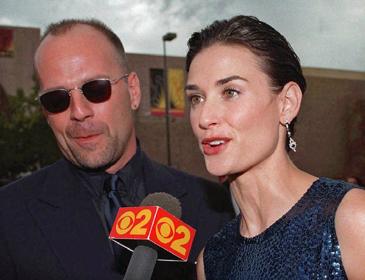 Demi Moore and Bruce Willis arrive for the Emmy Awards in Pasadena, Calif., Sept. 14, 1997.