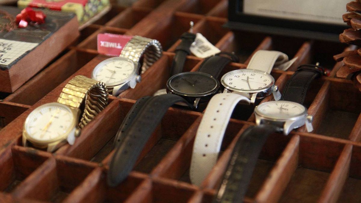 Timex watches on display at the Arthur vintage decor shop