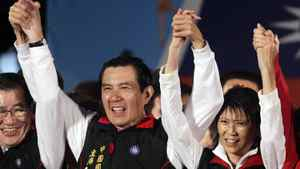 Taiwan President and Nationalist Party (KMT) presidential candidate Ma Ying-jeou (L) and First Lady Christine Chow Mei-ching celebrate after provisional election results of the Taiwan's 2012 presidential election are announced in Taipei January 14, 2012. Incumbent Taiwan President Ma Ying-jeou claimed victory in the island's presidential election on Saturday, pointing to smooth future relations with China and the likelihood of stepped-up economic integration.