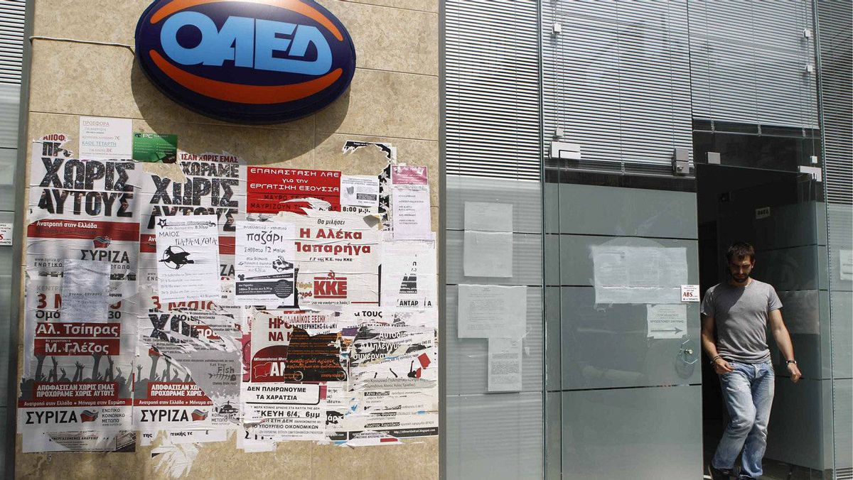A man leaves an unemployment bureau in Athens earlier this month. More than one in five Greeks and one in two youths are out of a job, according to data from statistics service ELSTAT.