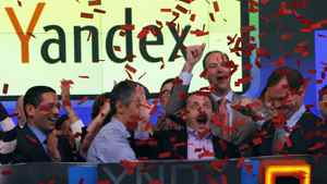 Yandex founder and CEO Arkady Volozh (front, 2nd R) celebrates as Yandex is listed on the Nasdaq exchange during their IPO at the Nasdaq market site in New York May 24, 2011.