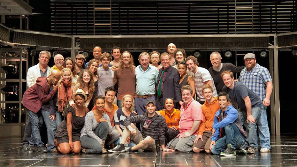 Andrew Lloyd Webber with the cast of Jesus Christ Superstar on the stage of the Stratford Shakespeare Festival's Avon Theatre, after the Lord Lloyd Webber attended the Saturday evening performance.