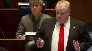 Toronto Mayor Rob Ford answers questions from councillors about his plan to remove board members at the Toronto Community Housing Corp., in council chambers at city hall in Toronto. Kevin Van Paassen/The Globe and Mail