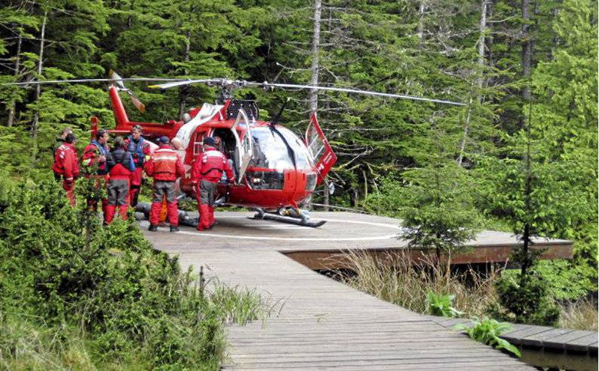Elaine Campbell is airlifted to hospital after spending six days alone on a remote Haida Gwaii beach.