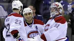 Montreal Canadiens celebrate in third period of game against Toronto Maple Leafs April 9, 2011