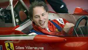 Jacques Villeneuve sits in the cockpit of his father's car at the Fiorano track.
