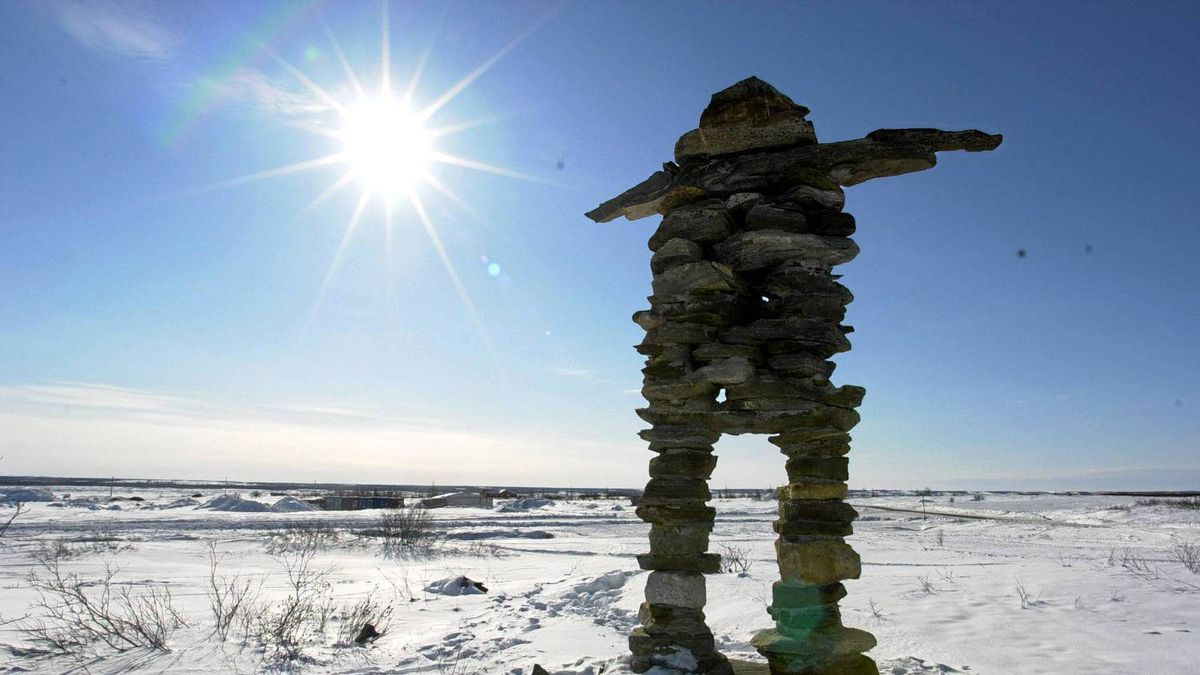 At the entrance to Kuujjuaq, Que., stands this huge Inukshuk.