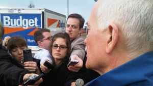 NDP Leader Jack Layton speaks with reporters at a campaign stop in Courtenay, B.C., on April 29, 2011.