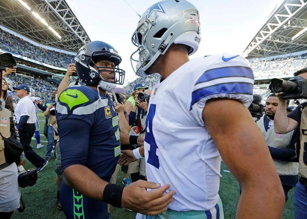 5231f0b6ad4 Cowboys' Dak Prescott seeks 1st playoff win vs. Russell Wilson, Seahawks