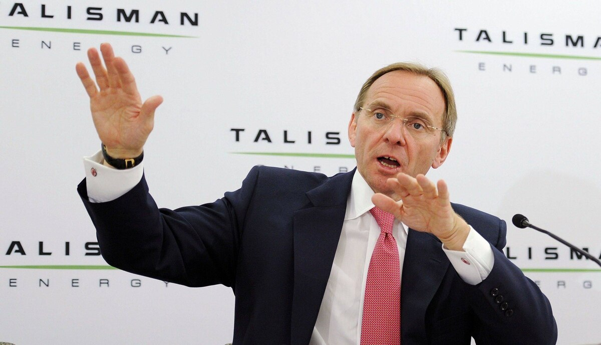 John Manzoni, president and Chief Executive Officer of Talisman Energy answers questions at a news conference after the company's annual general meeting in Calgary, Alberta, May 4, 2011.