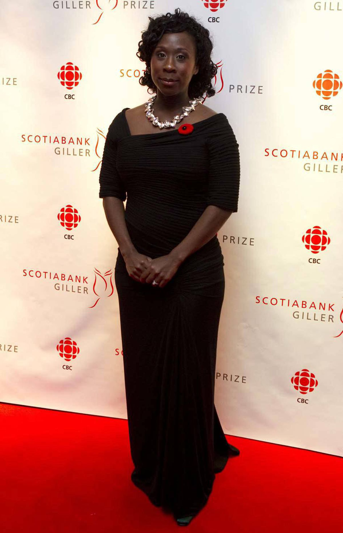 """Esi Edugyan, author of """"Half-Blood Blues"""" and eventual winner on the night, arrives at the Giller gala."""