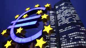 The Euro sculpture is seen in front of the European Central Bank in Frankfurt, central Germany, in this Nov. 30, 2005 file photo.