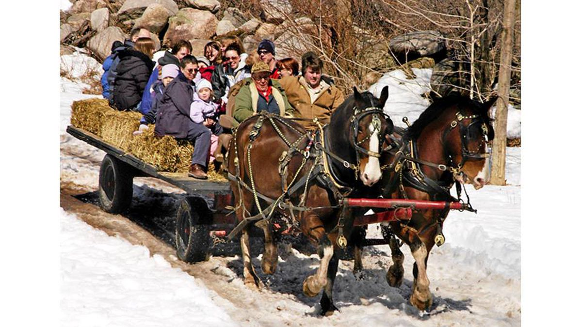 Hayrides, taffy and pancakes are part of the sugar-shack experience.