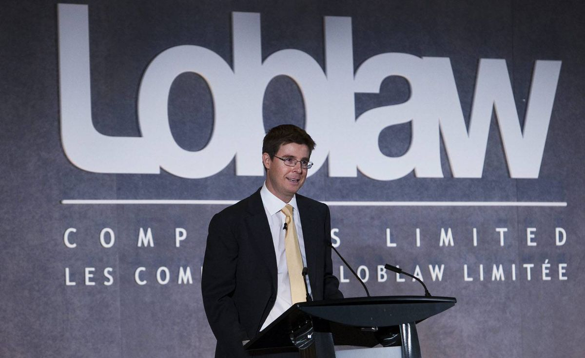 Executive Chairman Galen Weston, of Loblaw Companies Ltd., speaks at the company's annual general meeting in Toronto on Wednesday, May 5, 2010. THE CANADIAN PRESS/Nathan Denette