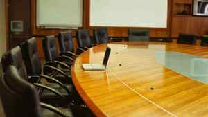 table and chairs in a conference room