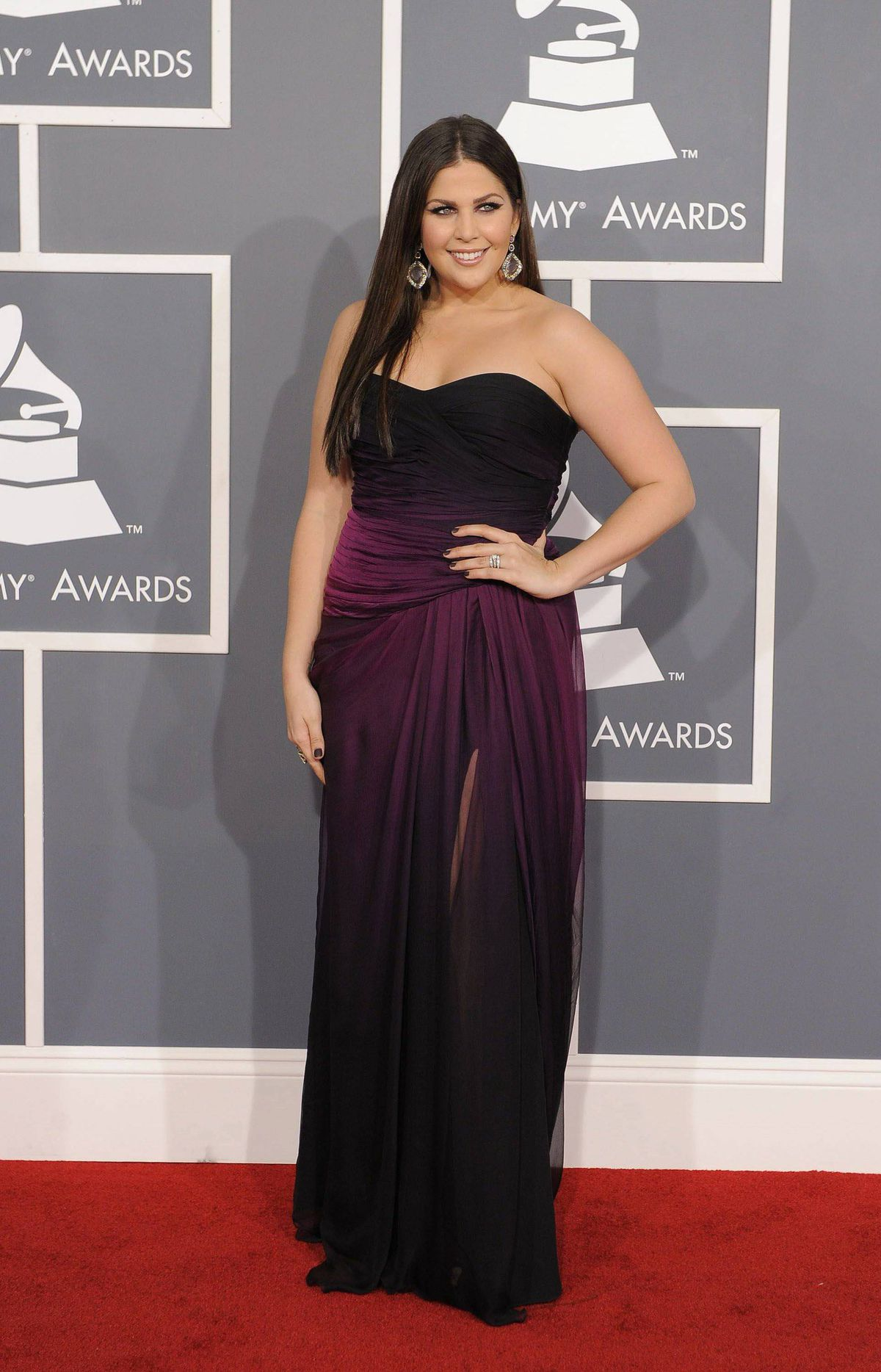Hillary Scott, of musical group Lady Antebellum, arrives at the 54th annual Grammy Awards on Sunday, Feb. 12, 2012 in Los Angeles