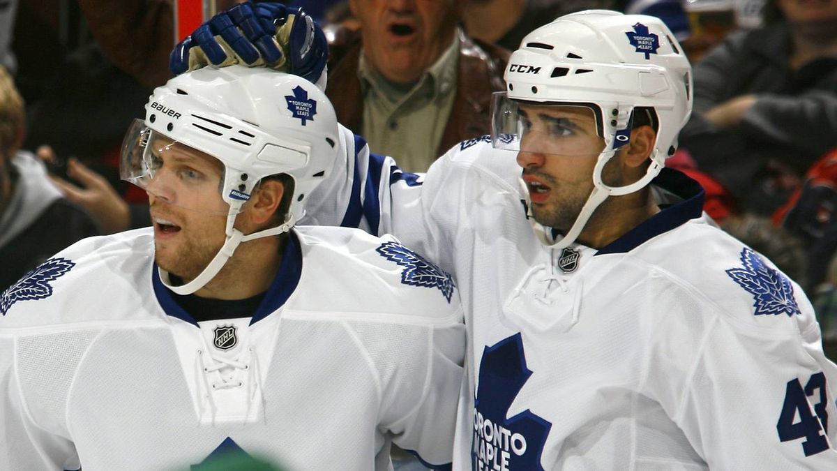 Nazem Kadri #43 of the Toronto Maple Leafs celebrates his goal against the Ottawa Senators with teammate Phil Kessel #81 during a game at Scotiabank Place on September 29, 2010 in Kanata, Canada. (Photo by Phillip MacCallum/Getty Images)