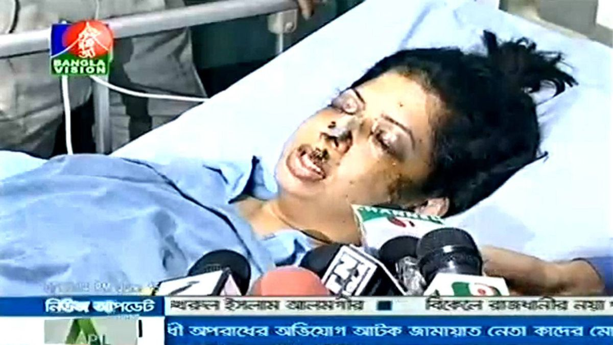 In this image taken from a Bangladesh newscast, Rumana Monzur speaks to reporters from her hospital bed.