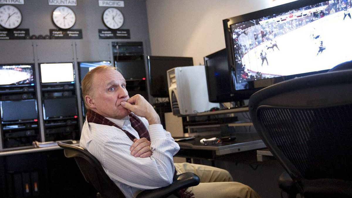 NHL Senior Vice President and Director of Hockey Operations Colin Campbell works in the NHL's video review room in Toronto Monday, November 29, 2010.
