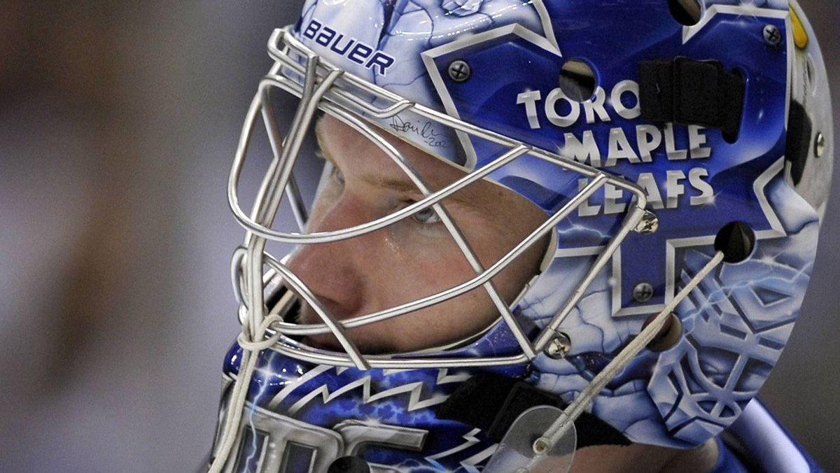 Toronto Maple Leafs goalie James Reimer looks on after allowing a goal against the New York Islanders, March 20, 2012.
