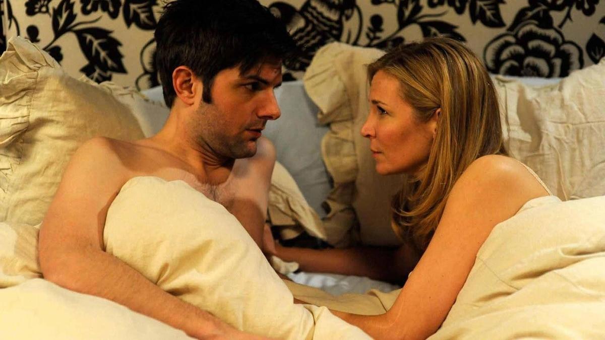 "Jennifer Westfeldt and Adam Scott portray Julie and Jason in ""Friends with Kids."""