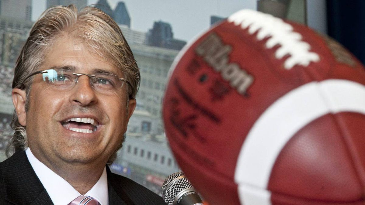 Montreal Alouettes general manager Jim Popp smiles after announcing he has signed an extension to his contract with the Alouettes through the 2014 season during a news conference Wednesday August 4, 2010 in Montreal.