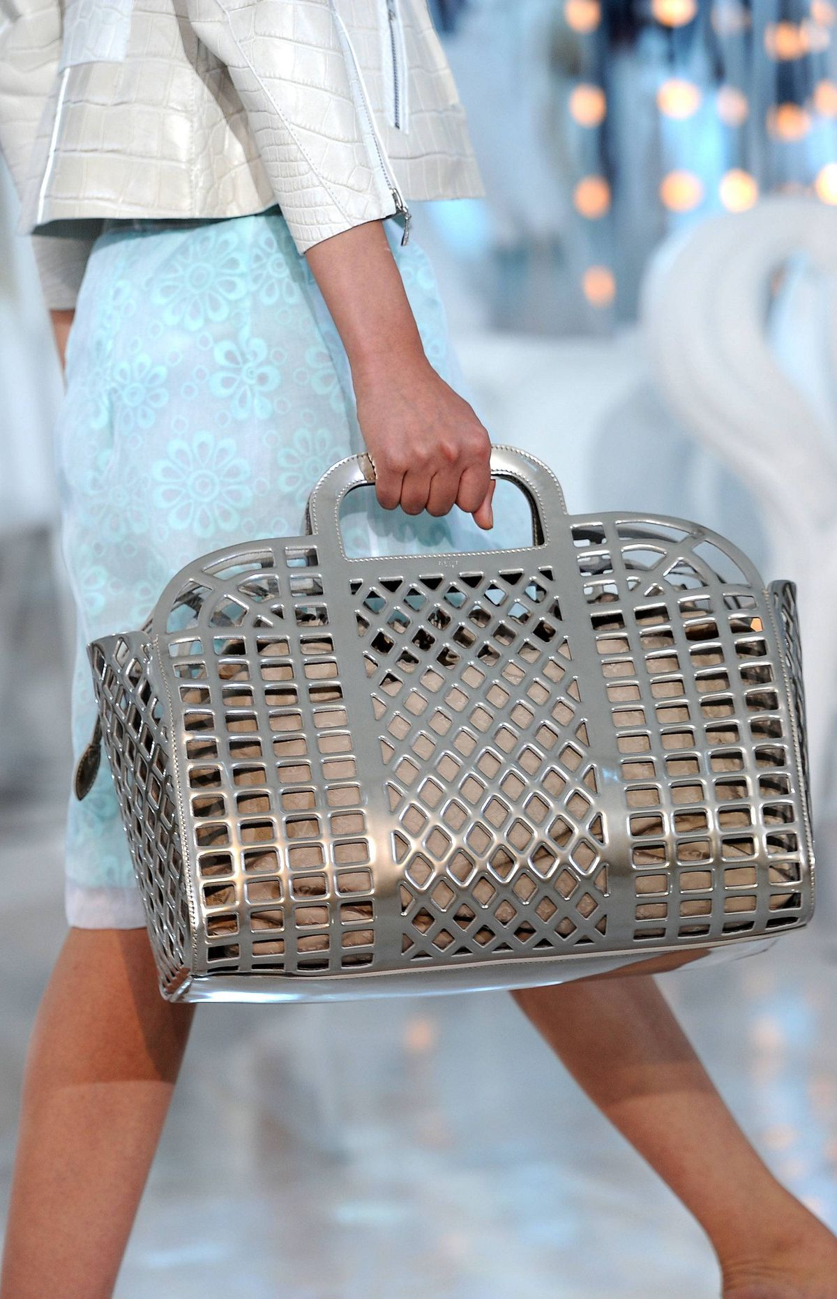 So were the bags second fiddle? Hardly, especially this basket-weave style in mirrored leather.