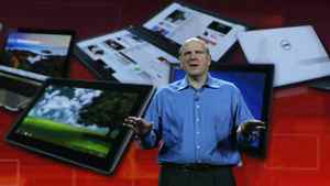 Microsoft CEO Steve Ballmer delivers a keynote address at the 2011 International Consumer Electronics Show at the Las Vegas Hilton January 5, 2011 in Las Vegas, Nevada. CES, the world's largest annual consumer technology tradeshow, runs from January 6-9 and is expected to feature 2,700 exhibitors showing off their latest products and services to about 126,000 attendees.