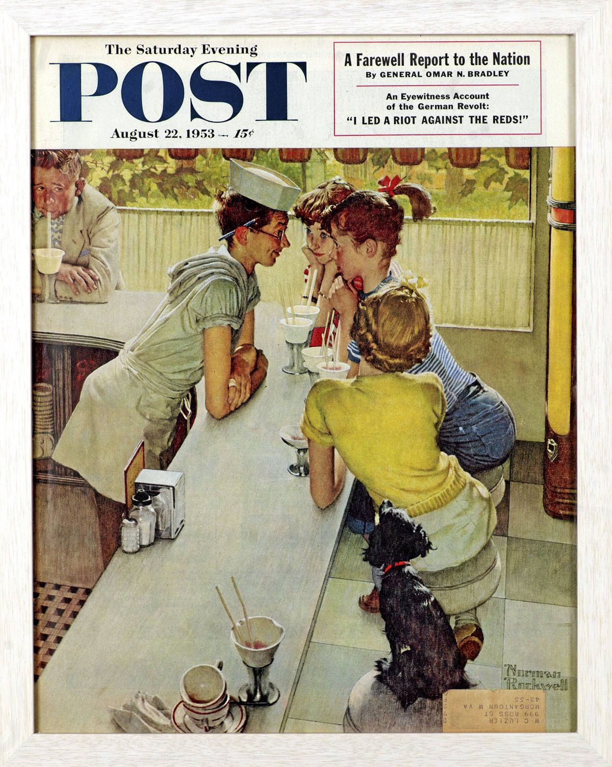 Soda Jerk, Norman Rockwell, 1953. Cover illustration for The Saturday Evening Post, August 22, 1953.
