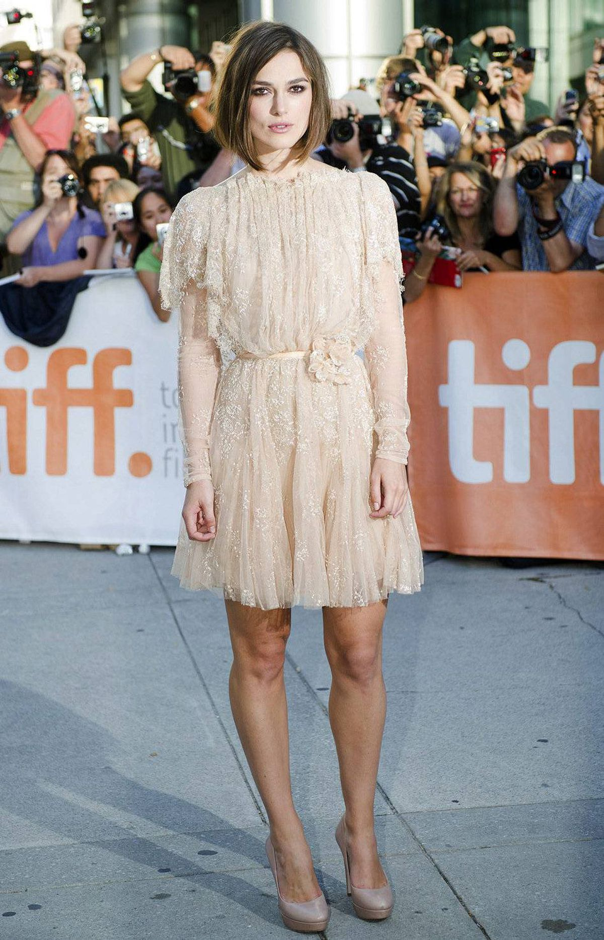 """Actors Keira Knightley poses for a photograph on the red carpet before the screening of the new movie """"A Dangerous Method"""" at the Toronto International Film Festival in Toronto on Saturday, Sept., 10, 2011. THE"""