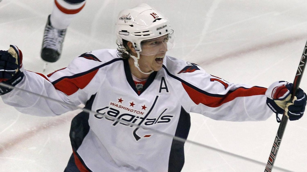Washington Capitals center Nicklas Backstrom (19) celebrates his game-winning goal against the Boston Bruins during the second overtime period of Game 2 of an NHL hockey Stanley Cup first-round playoff series in Boston, Saturday, April 14, 2012.