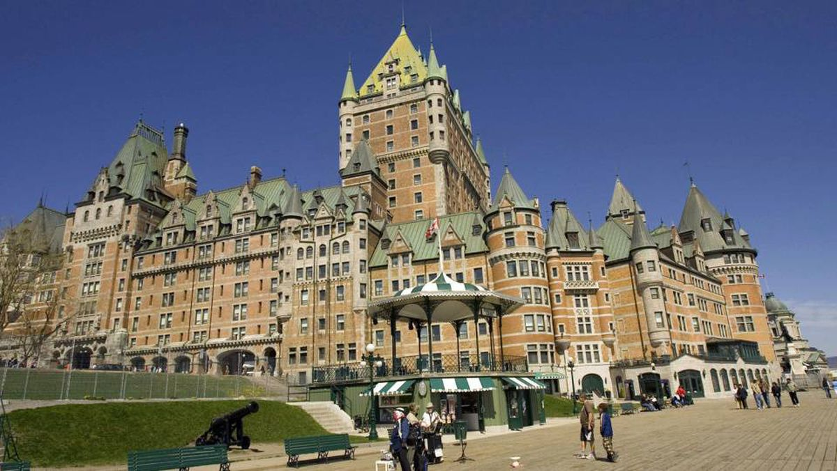 Quebec City landmark, the Chateau Frontenac can be seen from the boardwalk on May 17, 2008 in Quebec City, Quebec, Canada. Quebec City, once the center of New France -- a French colony that covered almost half of what is today the United States and Canada -- is celebrating the 400th anniversary of its founding on July 3, 1608 by French explorer Samuel de Champlain. The city, set up during the early days of the fur trade, is now a bustling urban center with a population of some 700,000.