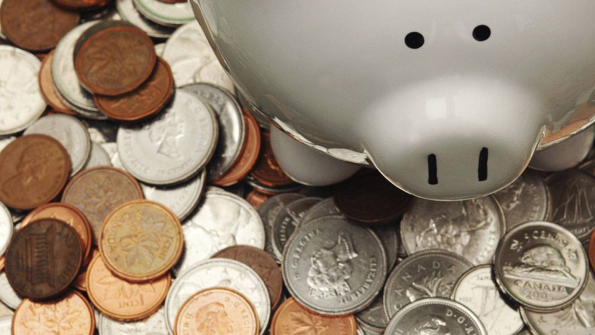 Piggy bank with Canadian coins