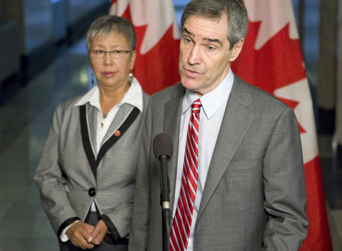 Liberal Leader Michael Ignatieff and Senator Lillian Dyck speak to reporters on Parliament Hill on Sept. 17, 2009.