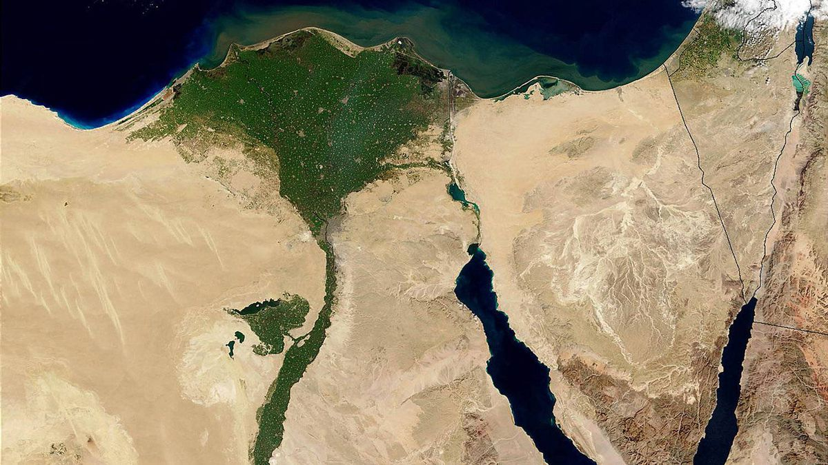 A NASA Terra satelllite image released Feb. 11, 2003, shows a true-color image of the The Nile River Delta.